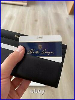 YSL Yves Saint Laurent Black Leather Vintage Flap Bifold Zip Long Wallet Purse