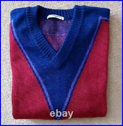 Yves Saint Laurent Vintage Men's V-neck Ski Sweater 100% Wool Early 80's Size L